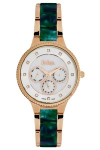 Women 's Super Metal Band Watch - LC06270, white, rose gold, tt green