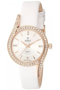 Women's Leather Band Watch -E8504, white, white, rose gold