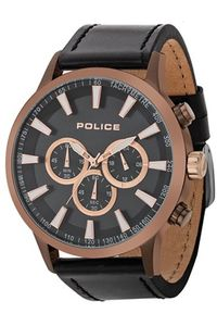 Men's Leather Band Watch - P 15000, black, brown, black