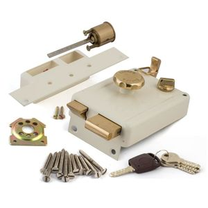 EUROPA NIGHT LATCH WITH SURFACE MOUNTED DOOR LOCKS: KNOB ON INSIDE SP, outside opening doors, ivory
