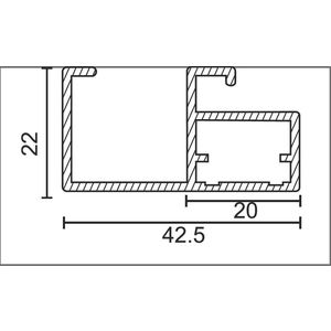 ONYX ALUMINIUM DRAWER & SHUTTER PROFILES - 20MM HANDLE PROFILE (3 MTR), aluminium finish