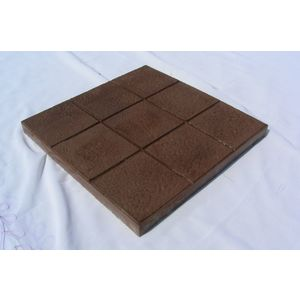 12X12 GLOSSY CHEQUERED TILE (25MM THICKNESS) - 9 SQUARE DESIGN, brown