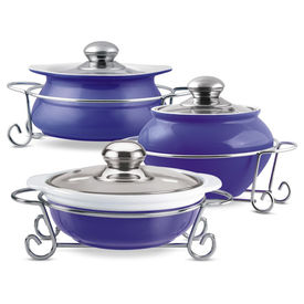 party perfect 3 pcs set of 1 ltr casseroles - Treo - Ceramic - Table Serve