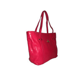 Crocodile leather fashion handbag, Hot Pink