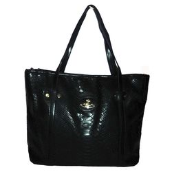 Crocodile leather fashion handbag, Black
