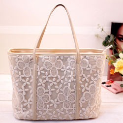 Lace Tote fashion handbag, Apricot