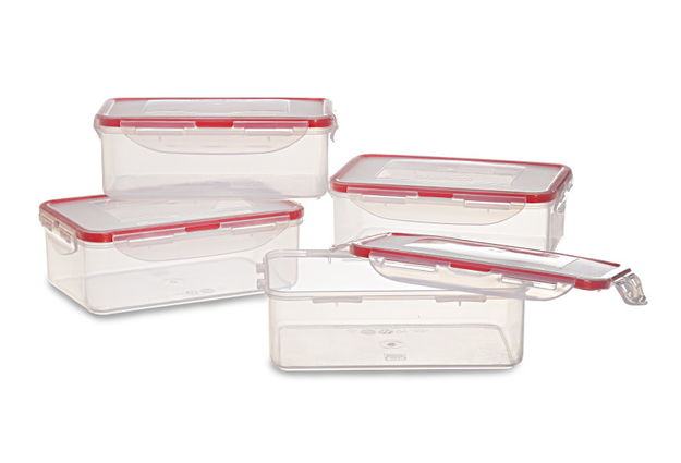 Lock And Safe Container Set Of 4, 1200 Ml,  transparent