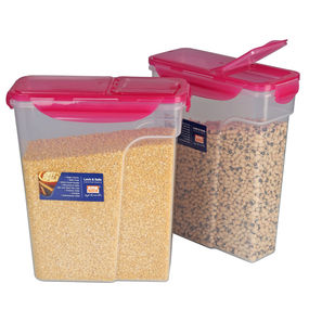 Lock N Safe Cereal Container Set, Set of 2, ( 3000 ml x 2), 6 ltr,  pink