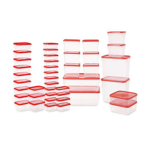 Polka Plastic Container Set, 42-Pieces,  red