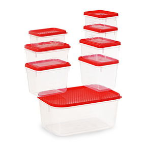 Polka Container Set, Set Of 8, Green,  red