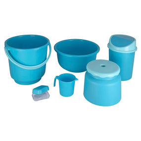 Super Deluxe Bathroom Set, Set of 6,  blue