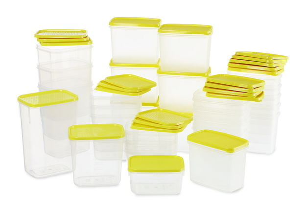 Polka Plastic Container Set, 28-Pieces,  green