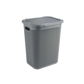 Cresta Knit Laundry Basket with Lid, 50 ltr,  grey