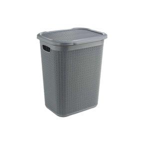 Cresta Knit Laundry Basket with Lid,  grey, 50 ltr