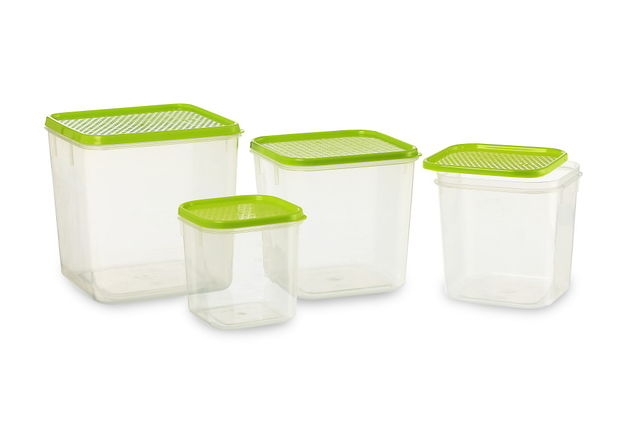 Polka Container Set of 4, 6800 ml,  blue