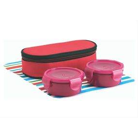 Food Gear Lunch Box With Insulated Carry Bag 2-Pieces Set, 230 ml - 230 ml,  pink