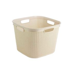 Cresta Knit Square Basket, 41 ltr,  cream