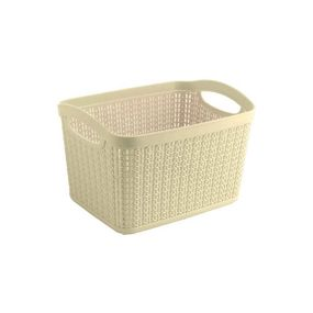 Cresta Knit Rectangular Basket, 6.6 ltr,  cream