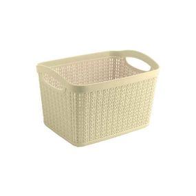 Cresta Knit Rectangular Basket,  cream, 6.6 ltr
