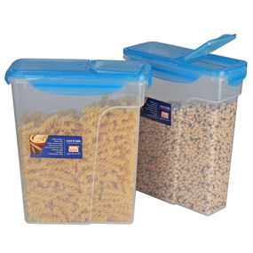 Lock N Safe Cereal Container Set, Set of 2, ( 3000 ml x 2), 6 ltr,  blue