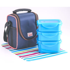 Food Gear Lunch Box With Insulated Carry Bag 3-Pieces Set, 350 ml - 350 ml - 500 ml,  blue