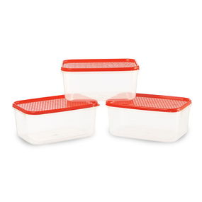 Polka Container Set of 3, 1000 ml,  red