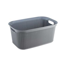 Cresta Knit Rectangular Basket, 27 ltr,  grey