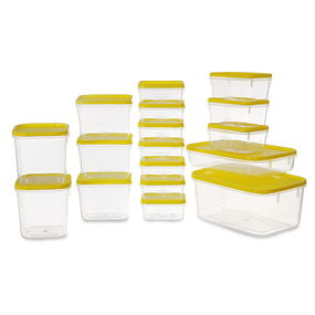 Polka Container Set, 6.5 Litre, Set Of 17,  yellow