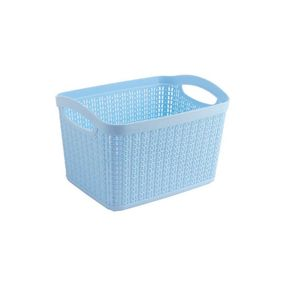 Cresta Knit Rectangular Basket, 6.6 ltr,  blue