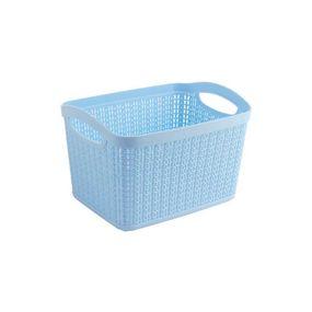Cresta Knit Rectangular Basket,  blue, 6.6 ltr