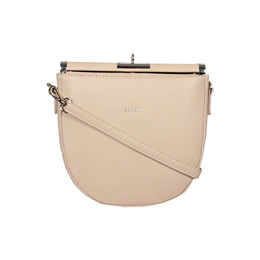 Esbeda Black Color Small Size Solid U-Shaped Saddle Sling Bag For Women,  beige
