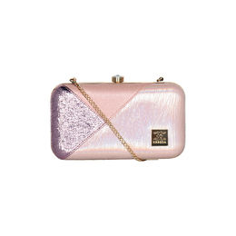 ESBEDA Solid Pattern Glammer box clutch For Women,  pink