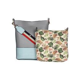 ESBEDA Magnet Closure Floral Pouch Handbag For Women,  grey