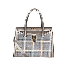 ESBEDA Checkred Pattern Bernina Jute Suede Handbag For Women,  silver
