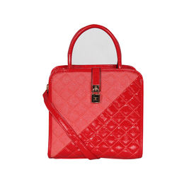 ESBEDA Solid Pattern Quilted Shiny Handbag For Women,  red