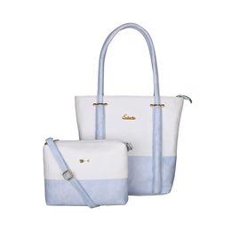 ESBEDA BIG Size Vinyl Combo Handbag with Slingbag For Women-B00100001-2,  blue