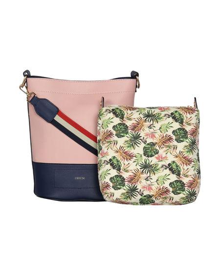 ESBEDA Magnet Closure Floral Pouch Handbag For Women,  beige