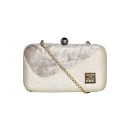 ESBEDA Solid Pattern Glitter box clutch For Women,  gold