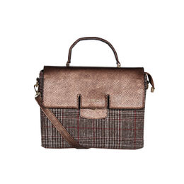 ESBEDA Emboss Pattern Bernina Jute Suede Handbag For Womens,  brown