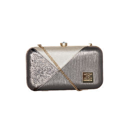 ESBEDA Solid Pattern Glammer box clutch For Women,  gunmetal