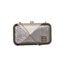 ESBEDA Solid Pattern Glammer box clutch For Women,  gunmetal