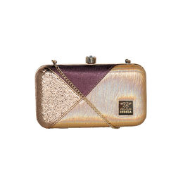 ESBEDA Solid Pattern Glammer box clutch For Women,  copper