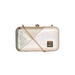 ESBEDA Solid Pattern Glammer box clutch For Women,  gold
