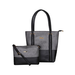 ESBEDA BIG Size Vinyl Combo Handbag with Slingbag For Women-B00100001-2,  grey