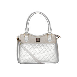 ESBEDA Quilted Pattern Handbag For Women,  silver