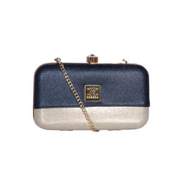 ESBEDA Solid Pattern Glitter box clutch For Women,  blue