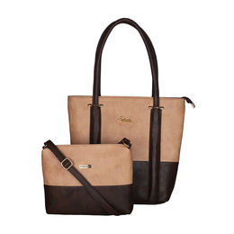 ESBEDA BIG Size Vinyl Combo Handbag with Slingbag For Women-B00100001-2,  brown
