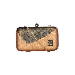 ESBEDA Solid Pattern Glitter box clutch For Women,  tan