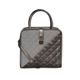 ESBEDA Solid Pattern Quilted Shiny Handbag For Women,  grey