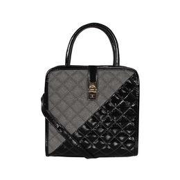 ESBEDA Solid Pattern Quilted Shiny Handbag For Women,  black